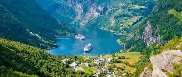 Die Kreuzfahrtschiffe im Geirangerfjord