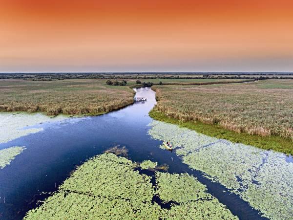 Schutzprojekt im Donaudelta, zum Beispiel durch die Förderung von Renaturierungen.
